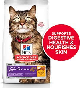 Hill's Science Diet Adult Sensitive Stomach & Skin Chicken & Rice Recipe Dry Cat Food 1.6kg Bag