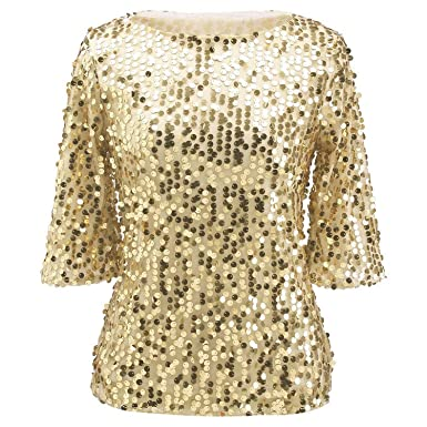 8d9409746 Womens Plus Size Shimmer Glam Glitter Sequined Tank Top Shirts Blouses S  Gold