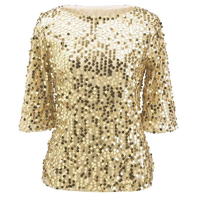 edbd3c3ea9b28 Womens Plus Size Shimmer Glam Glitter Sequined Tank Top Shirts Blouses S  Gold