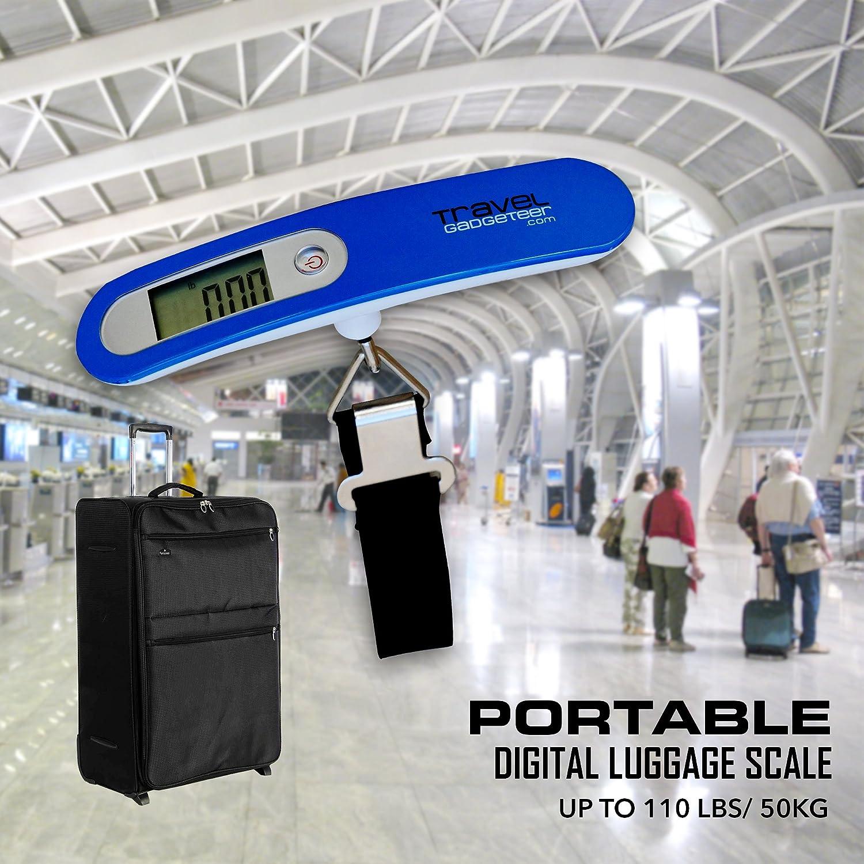 Puoi pesare comodamente a casa il tuo bagaglio. Bilancia per bagagli da viaggio con sacchetto protettivo