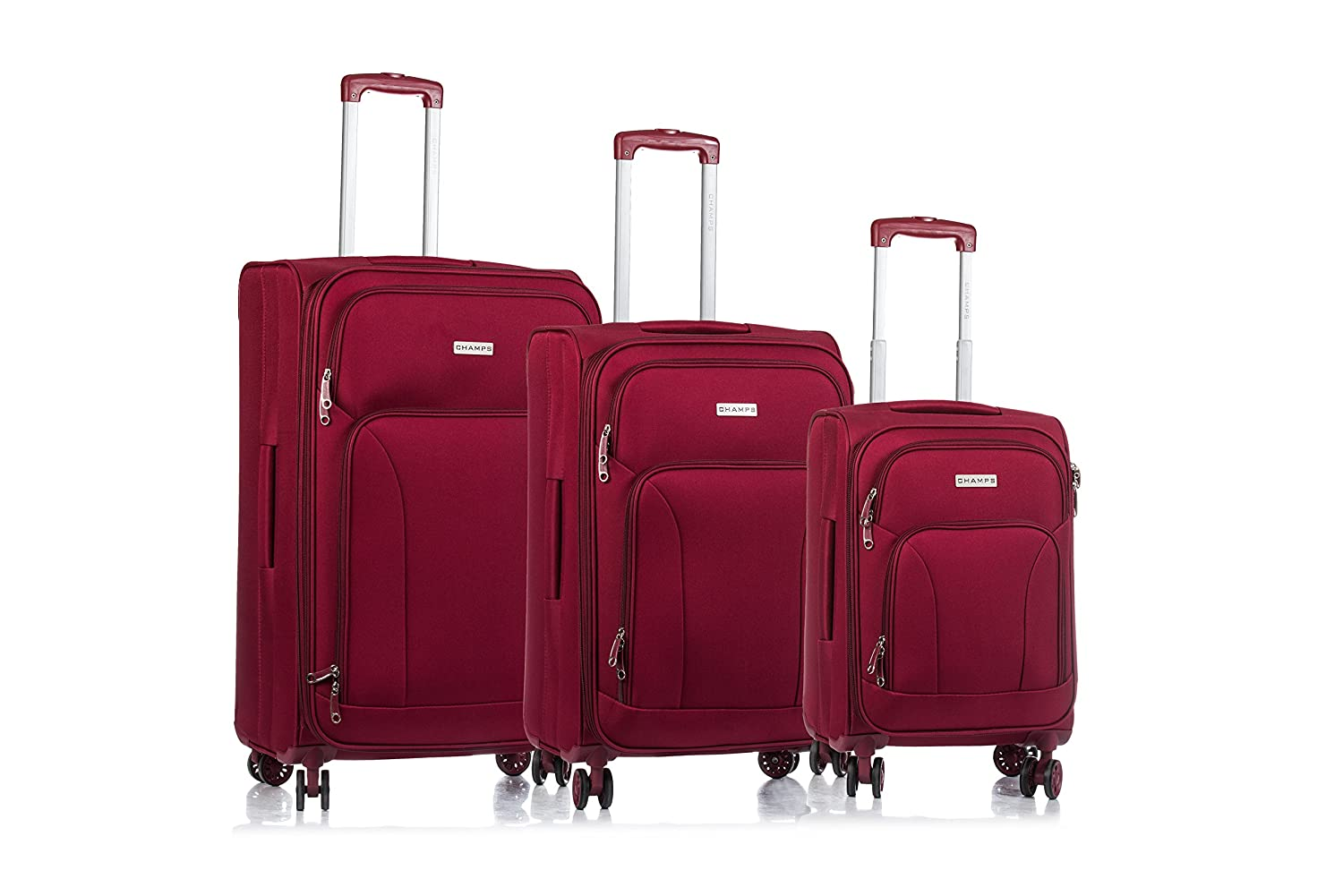 CDM product CHAMPS 'Travelers Collection' 3-Piece Expandable SOFTSIDE Spinner Luggage Set (RED) small thumbnail image