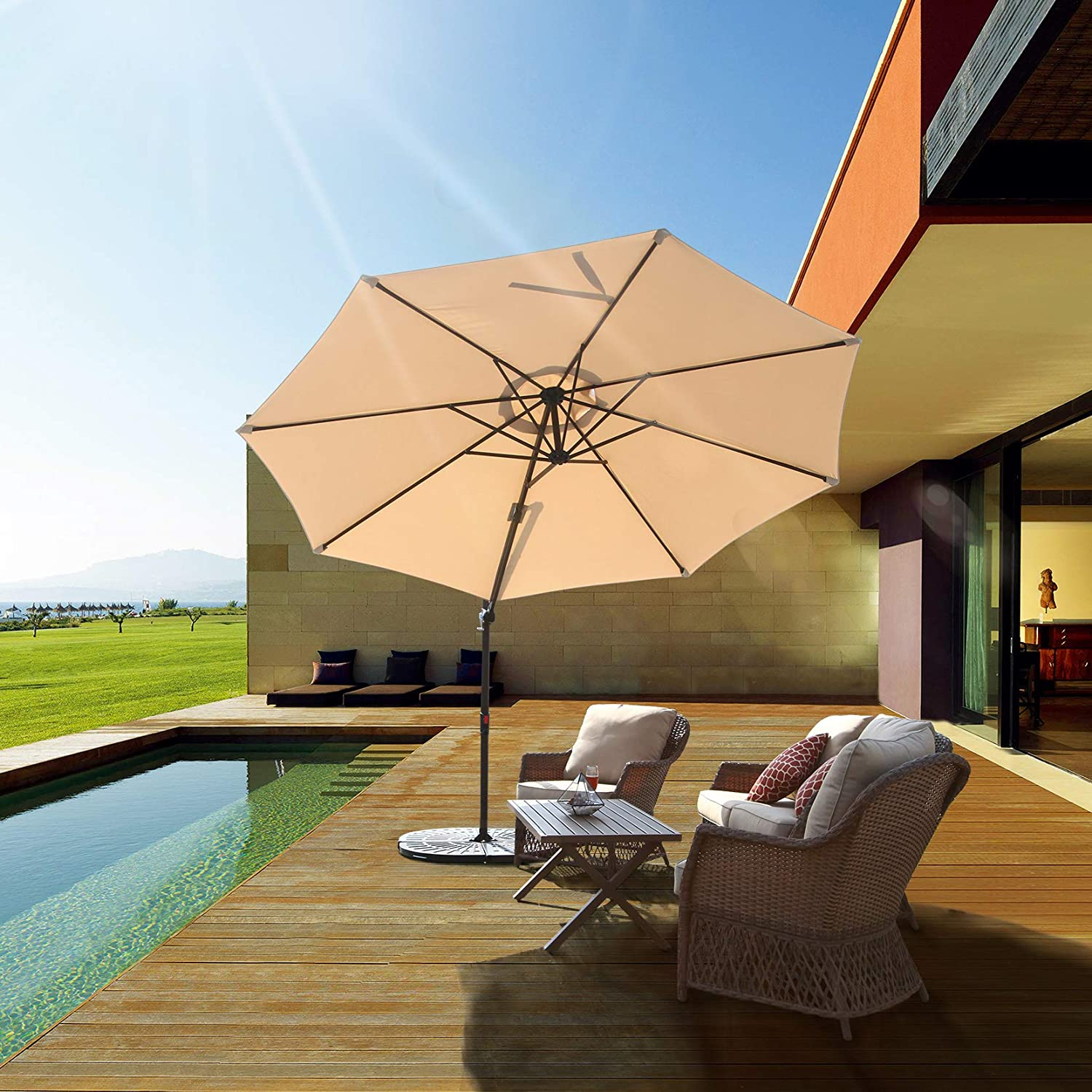 Grand patio 10 FT Aluminum Offset Umbrella, UV Protected Patio Cantilever Umbrella with Tilt and 360 Rotation, Champagne