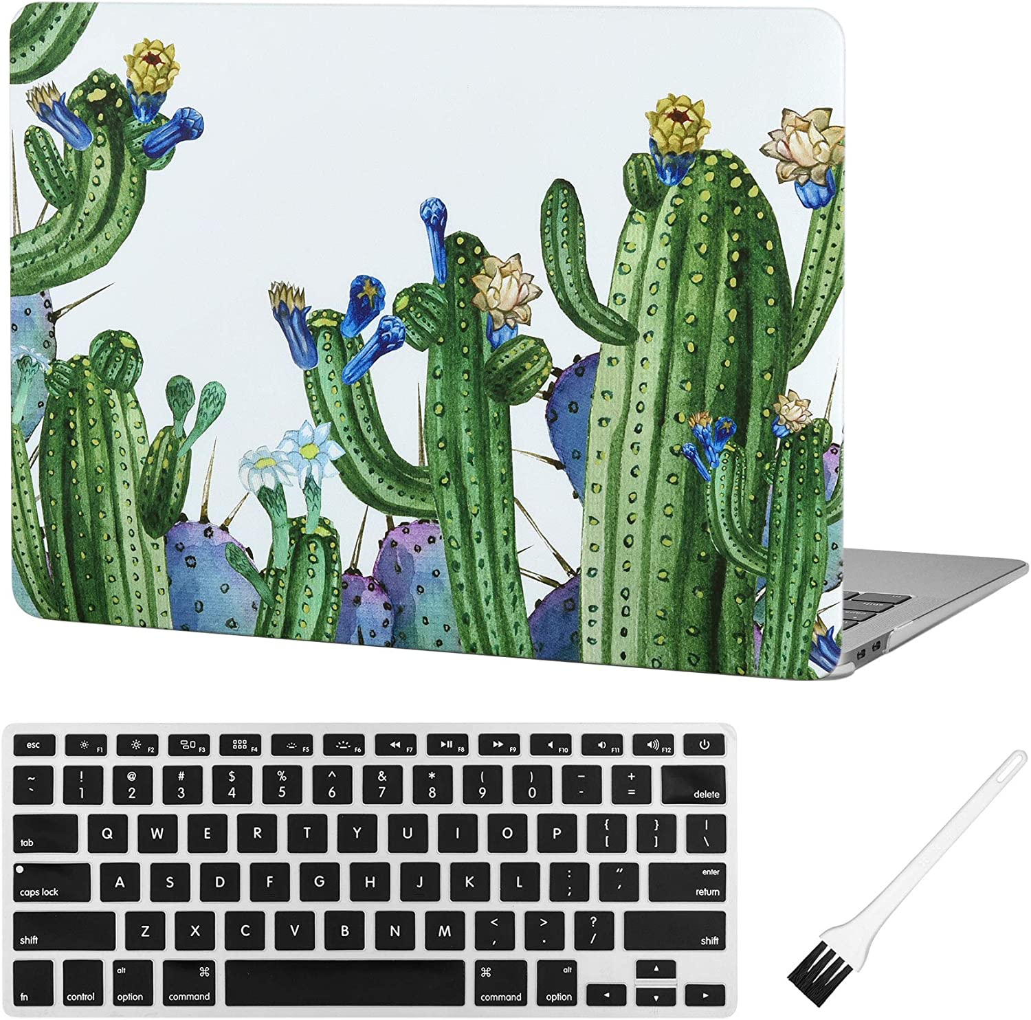 MacBook air 13 Inch Laptop Case A1932 Plastic Laptop Hard Shell Cover Sleeve Matte Rubberized (2020 2019 2018 Release, Touch ID) with Silicone Keyboard Cover and Dust Brush(Cactus-Blue Flowers)
