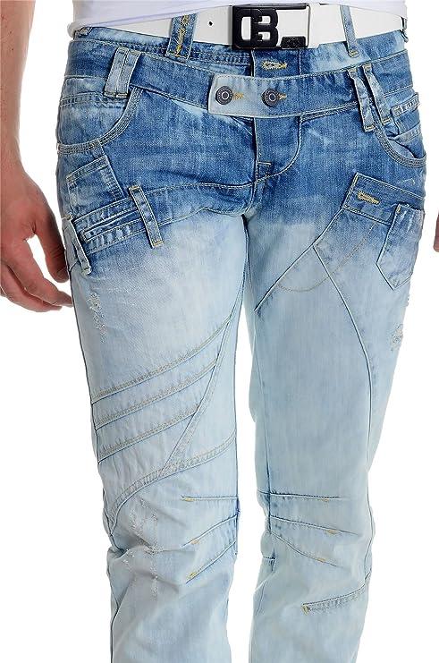 a8196bf118 D R Fashion Cipo   Baxx Men s Jeans Denim Pants Double Waist Washed Out  Light Blue 32L 34L at Amazon Men s Clothing store