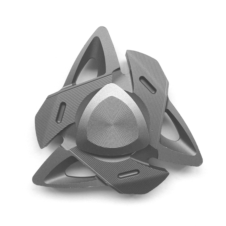 FREELOVE Russia Z Triangle Design Fidget Spinner Toy, Aluminum Alloy, German Precise CNC, Stainless Steel R188 Bearings, 6 Tritium Trachea (Aluminum Alloy Gun Color)