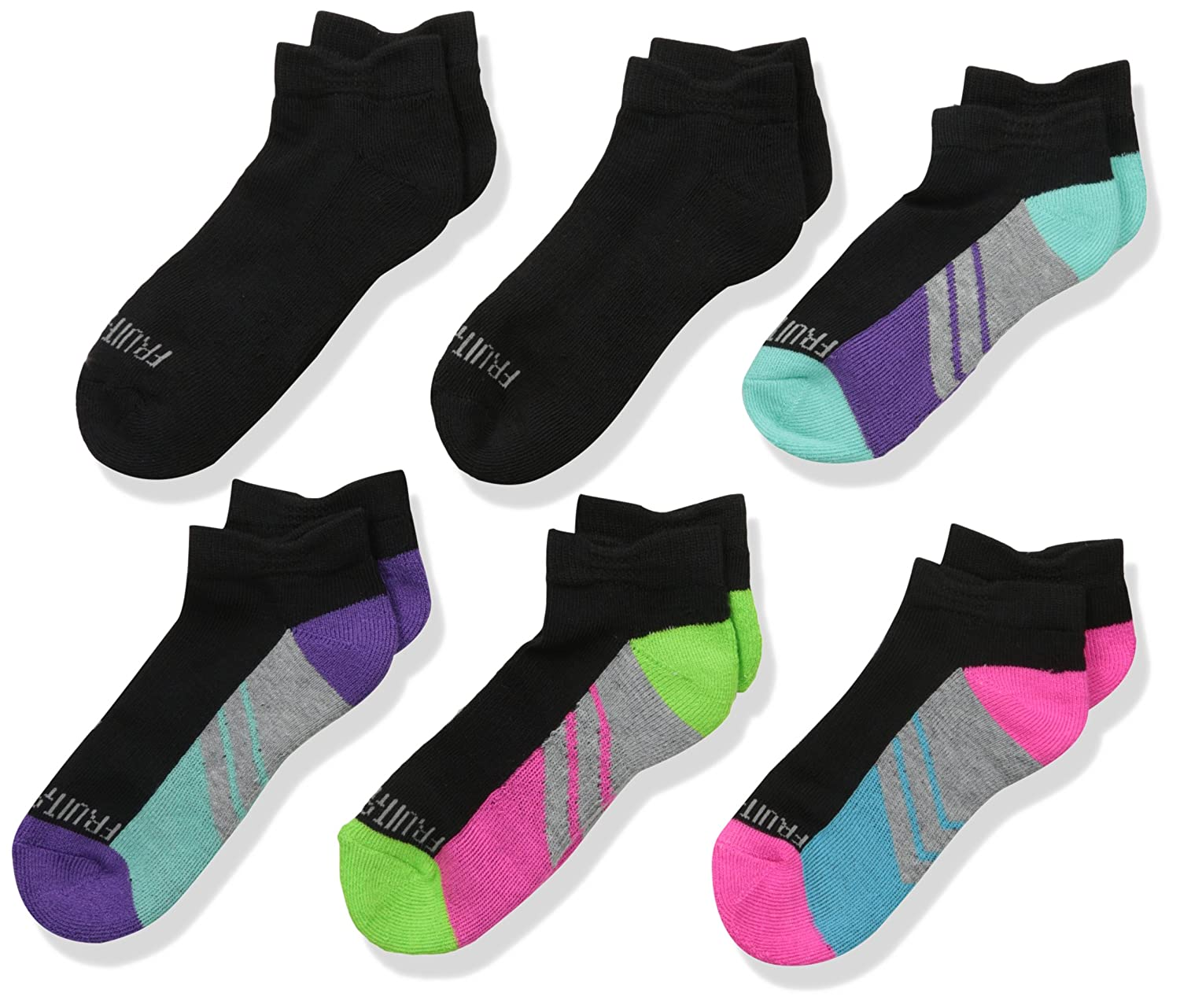 Fruit of the Loom Girls Cushion Low Cut with Arch Support 6 Pack Sock