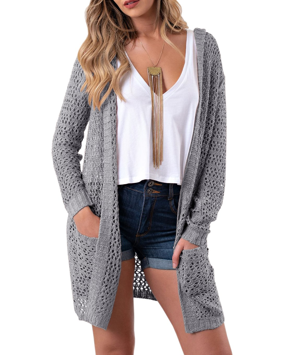 Sherrylily Womens Summer Cardigans Casual Hoodie Open Front Long Sleeve Sweater Jackets Pockets