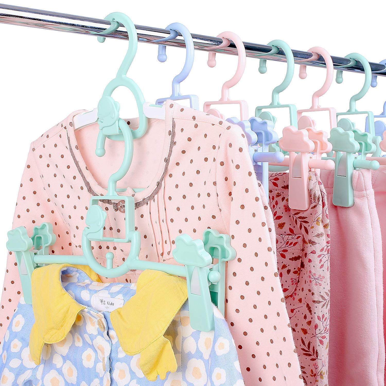 4 colores perchas para ropa de beb/é y ni/ño perchas antideslizantes para ni/ños Perchas de beb/é multicolor 40 piezas de pl/ástico para guardarropa de beb/é con 3 correas de pl/ástico para colgar