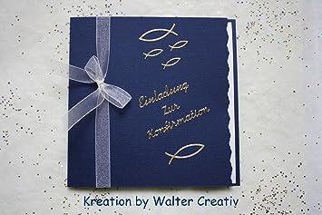 10 Einladungskarten Zur Konfirmation Einladung Incl. Farbl. Passendem  Umschlag *Handarbeit*
