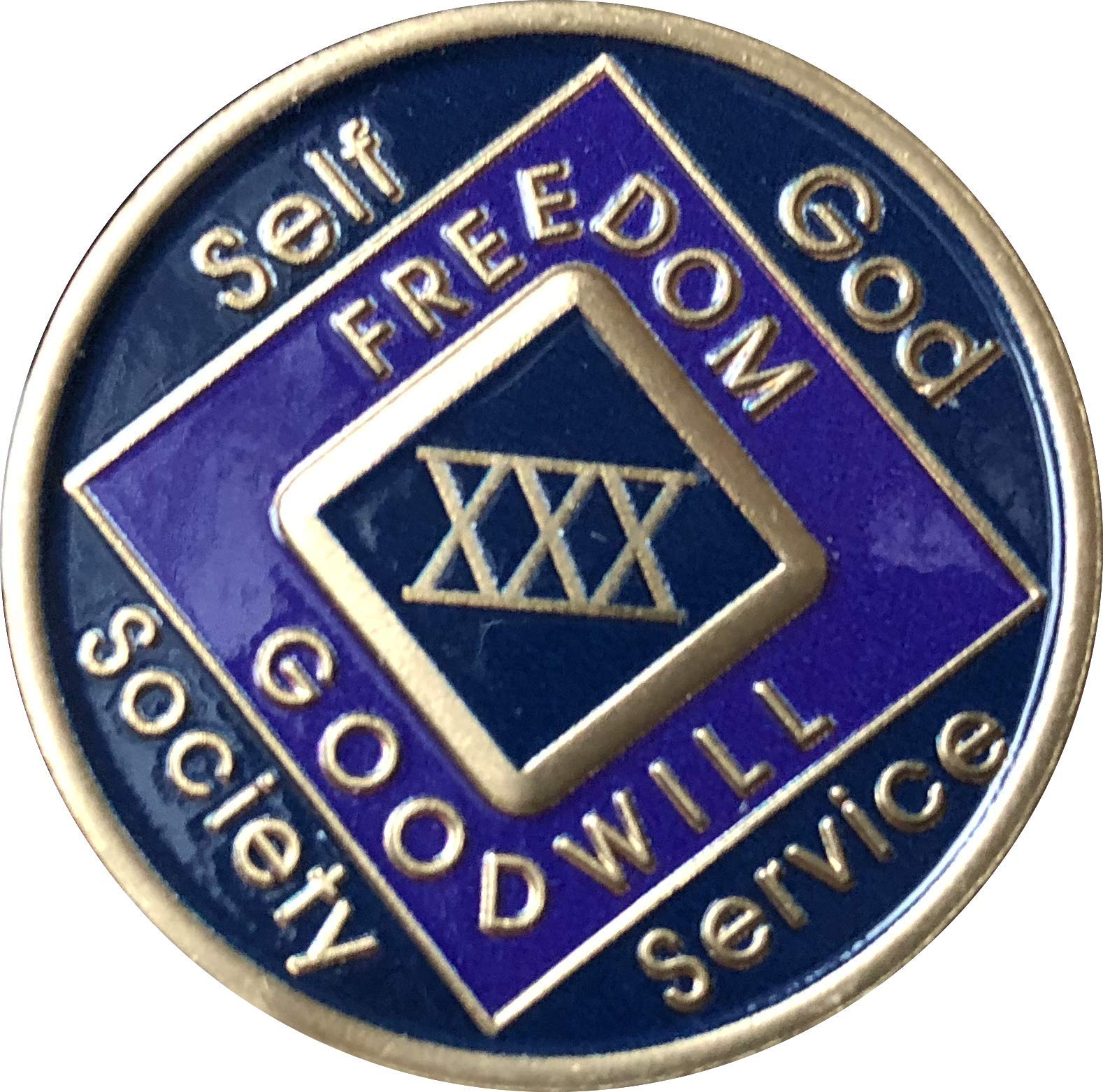 30 Year Blue and Purple NA Medallion Official Narcotics Anonymous Chip XXX