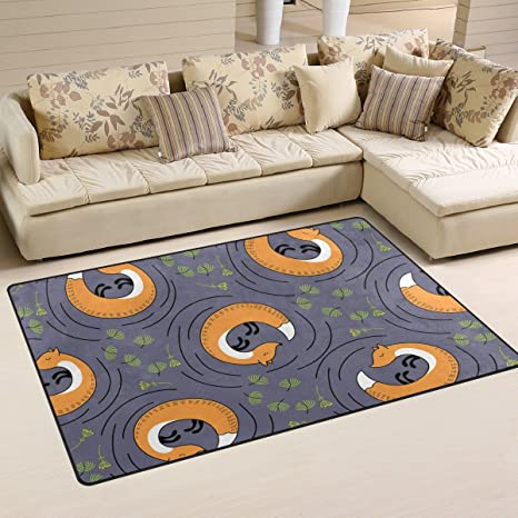 Amazon Com Deyya Sleeping Fox Non Slip Area Rug Rugs For Living