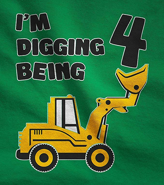 Bulldozer Construction Party Toddler Kids T-Shirt New Eletina Design 4th Birthday