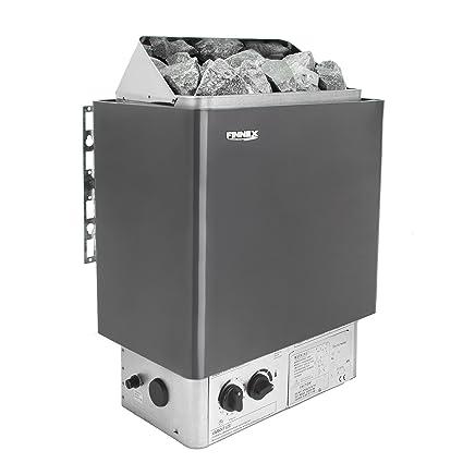 Estufa eléctrica para sauna, de rocas calientes, con termostato integrado y temporizador