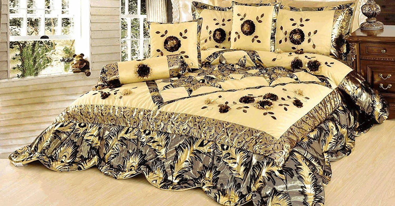 Tache 6 PC Floral Solid Luxury Caramel Latte Ruffle Comforter Quilt Set,Gold