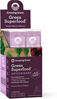 product image for Amazing Grass Green Superfood Antioxidant: Super Greens Powder with Spirulina, Elderberry & Probiotics, Sweet Berry, 15 Servings