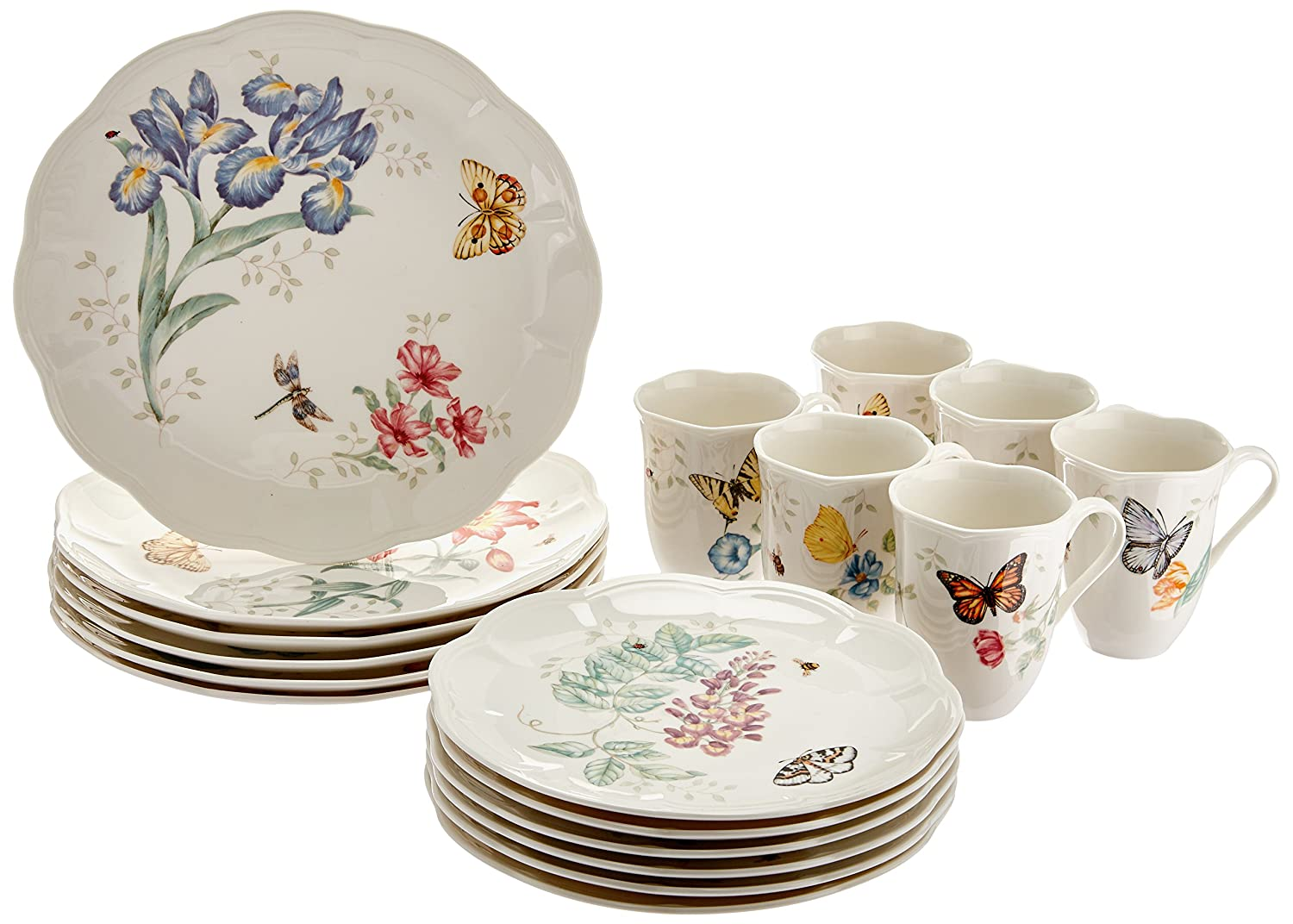 Amazon.com Lenox Butterfly Meadow 18-Piece Dinnerware Set Service for 6 Dinner Set Lenox Kitchen u0026 Dining  sc 1 st  Amazon.com & Amazon.com: Lenox Butterfly Meadow 18-Piece Dinnerware Set Service ...