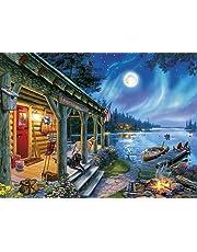 Buffalo Games 11246-Darrell Bush-Moonlight Lodge-1000 Piece Jigsaw Puzzle