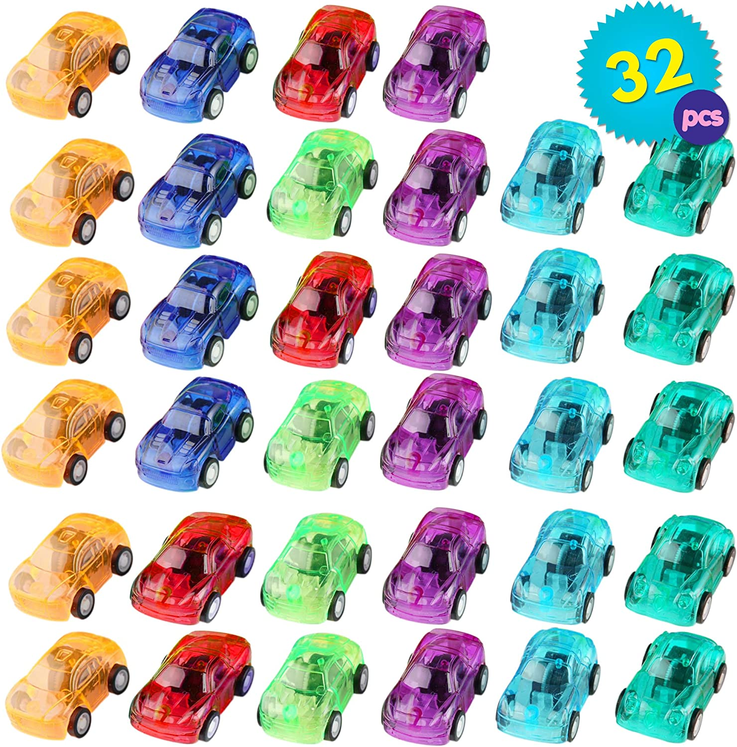 THE TWIDDLERS 32 Mini Pull Back Race Cars | Party Bag Filler Toys Push and Go Friction Vehicles Bulk Play Set Plastic Toy Car | Cake Topper Decoration