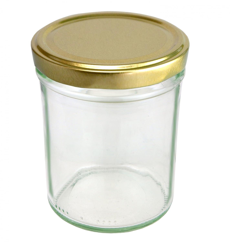 Juego de 12 tarros 230 ml Alto Tapa Color Oro to 66 Incluye Diamante gelier mágica Recetas, mermelada,, Conservas, Conservas (Cristal: Amazon.es: Hogar