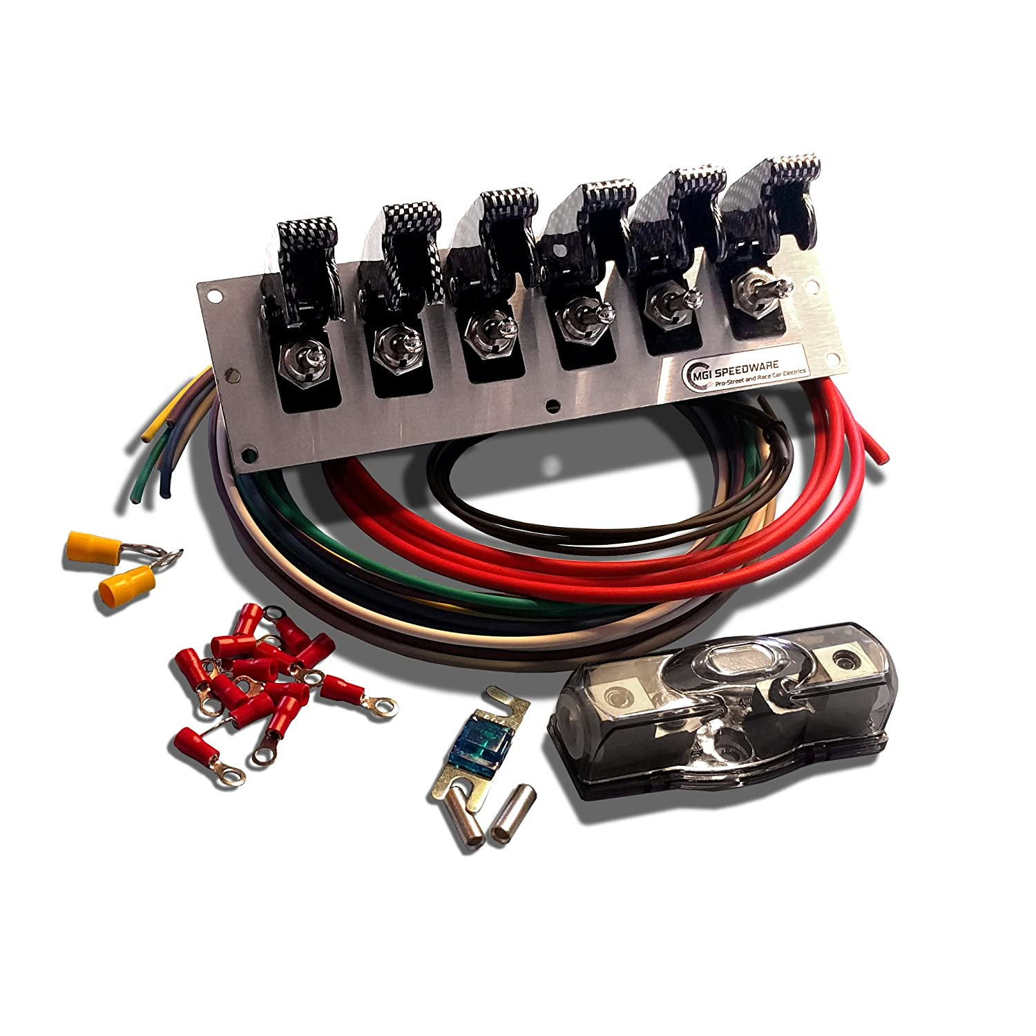 6 Gang Metal Toggle Switch Panel Wiring Kit with Red Aircraft Safety Covers — 12V Racing Car, Boat and Truck MGI