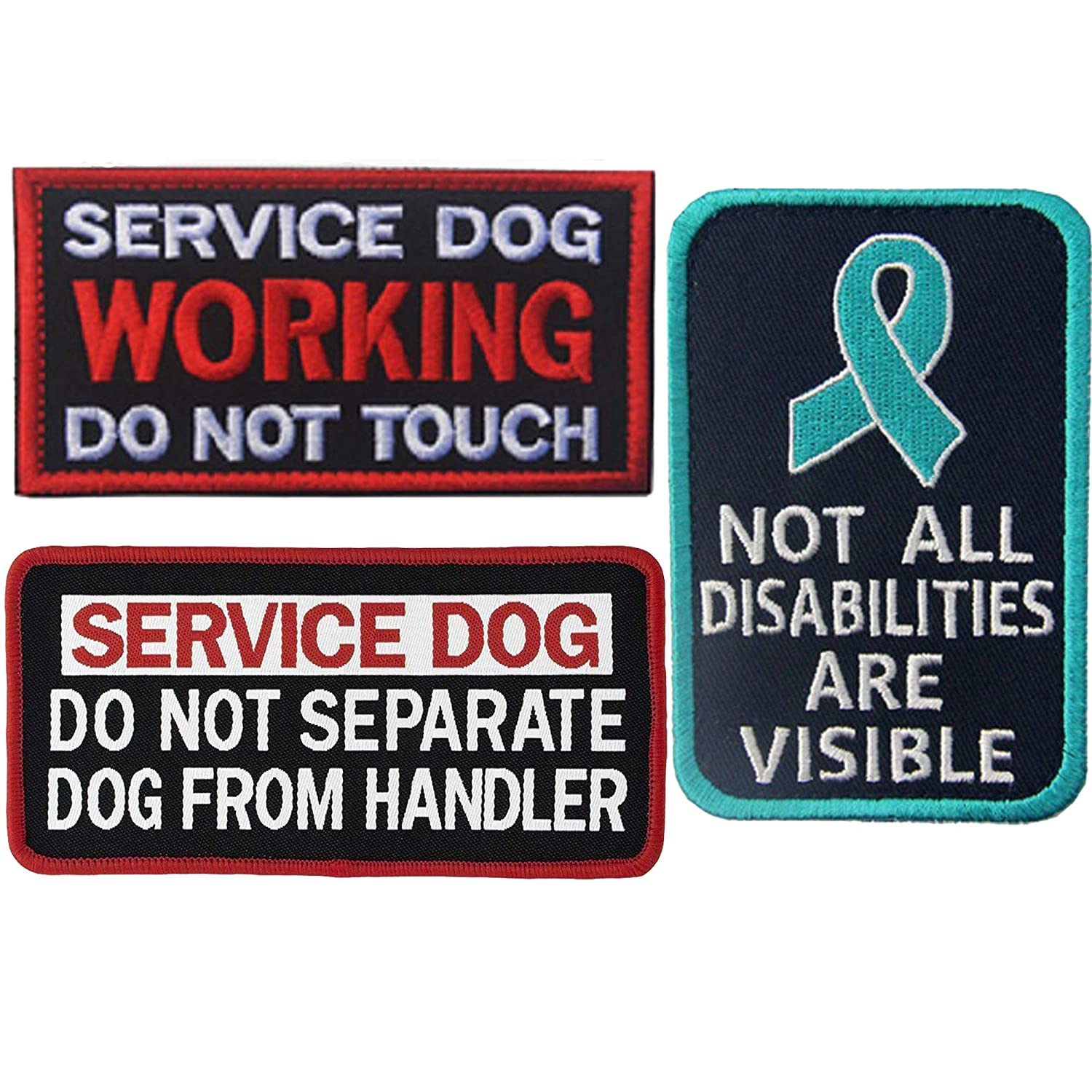 J Not All Disabilities are Visible, Do Not Separate Dog from Handler, Service Dog Working Do Not Touch Emblem Embroidered Fastener Hook & Loop Patch Appliques Badges for Vest Harnesses, Leashes 3PCS