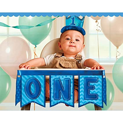 Little Buddy Boys 1st Birthday Party Deluxe High Chair Decoration Blue Fabric