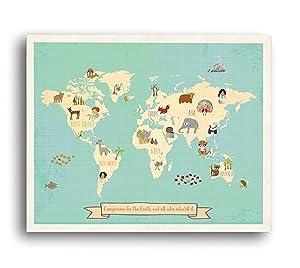 Global Compassion World Map 24x18 Print, Children's Wall Art Map, Kid's Animal World Map, Nursery Décor, Nature Themed Nursery, Nursery Wall Art, Kid's Art, Kid's Decor, Gender Neutral Nursery