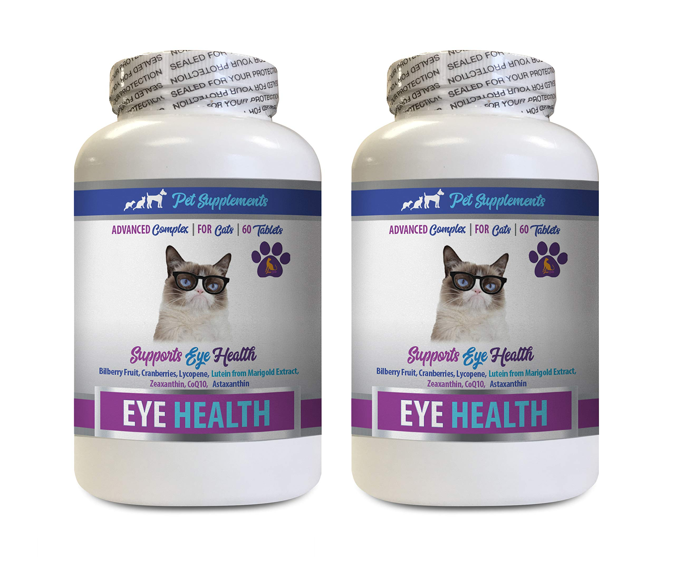 PET SUPPLEMENTS Eye Support for Cats - Cats Eye Health Complex - Advanced Formula for Eye Sight - Immune Boost - cat lactobacillus - 2 Bottles (120 Tablets) by PET SUPPLEMENTS