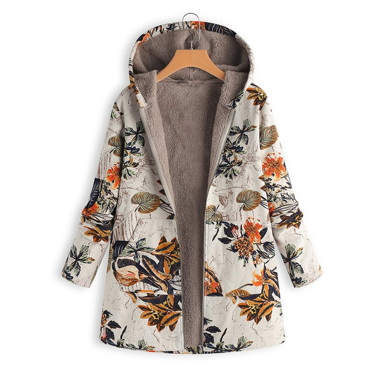 Amazon.com: Coats and Jackets Women Winter Warm Outwear Fashion Floral Print Hooded Pockets Vintage Oversize Coats New Chamarras De Mujer: Clothing