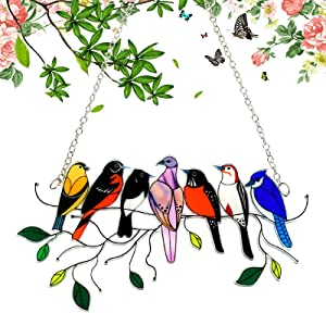 Multiple Birds on a Wire, Stained Glass Bird Window Hangings, Acrylic Bird Series Garden Suncatcher, Lifelike Window Art Ornament for Door Yard Home Decoration, Gifts for Mother or Bird Lover