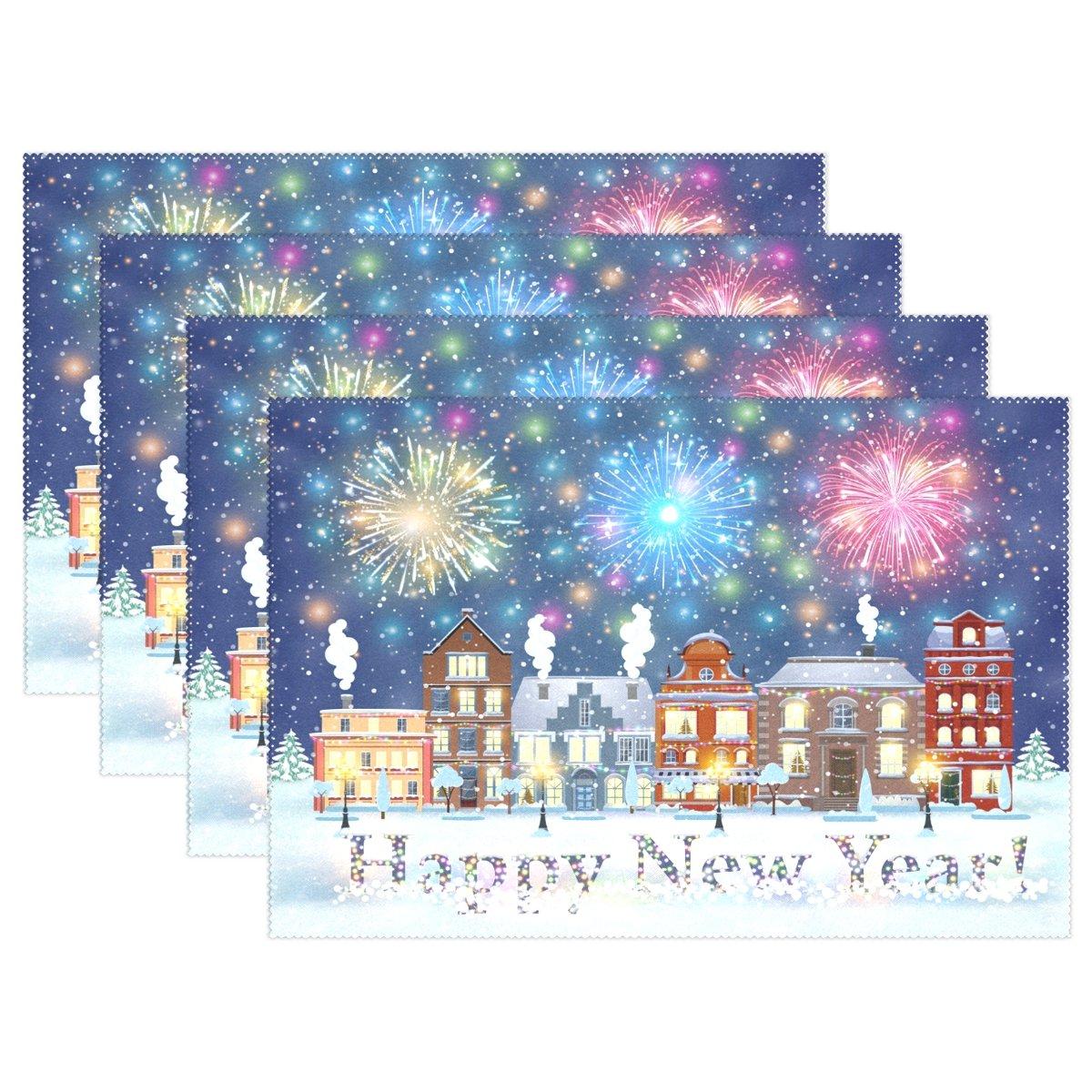 ゴージャスなHappy New Year and Merryクリスマス冬Fireworks耐熱表プレースマットStain Resistantのテーブルマット洗濯可能食べマットホームキッチン 1 マルチ1 B076HM9TDM