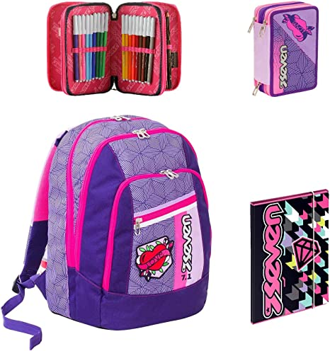 Seven – Mochila Escolar Advanced – Rebel Girl – Color Negro Violeta + Estuche + Carpeta A4: Amazon.es: Deportes y aire libre