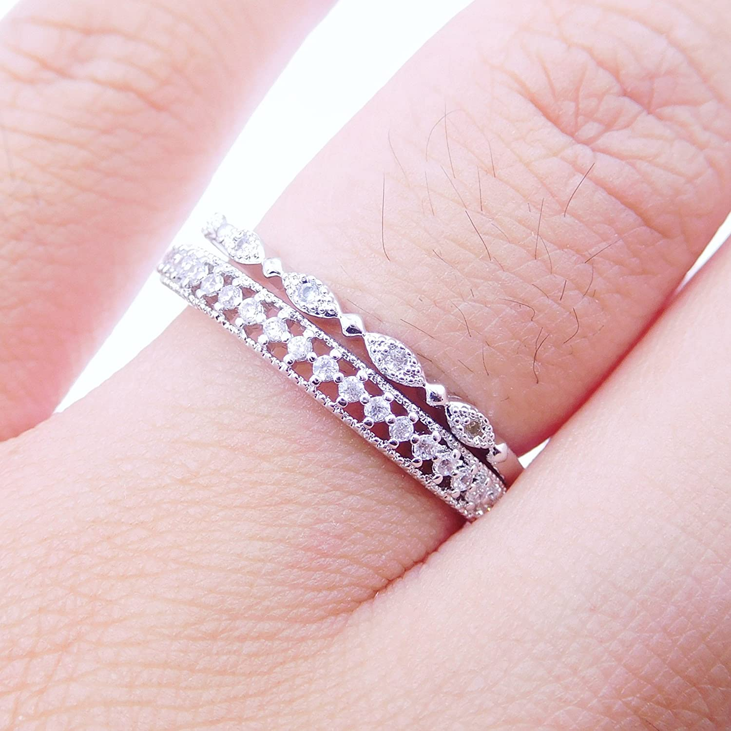 Amazon.com: 14K Dainty and Delicate Cubic Zirconia Stackable Oval ...
