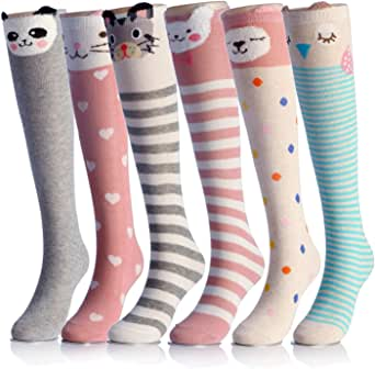 Cartoon Animal Cotton Knee High Socks For Children,6 Colors,One Size