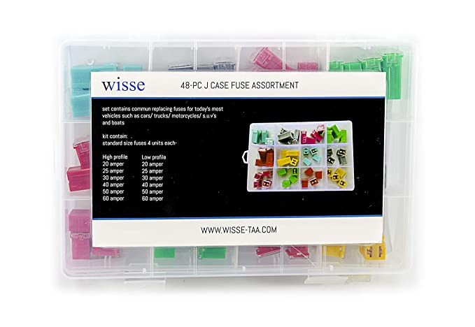 Replacement Fuse for Car Truck Motorcycles SUV Boats etc (48PC J Case Fuse)