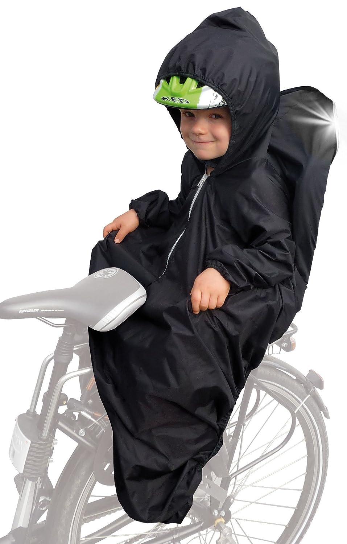 Sunnybaby 14490 - Chubasquero para asiento infantil de bicicleta (con mangas, líneas reflectantes y capucha para casco), color negro