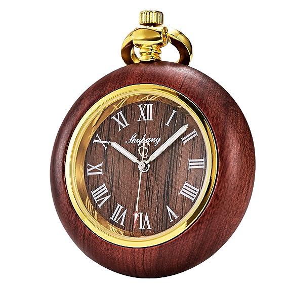 Tree weto Madera Reloj de bolsillo retro bolsillos Relojes Hombre Cuarzo Reloj Números Romanos Con Cadena Y Caja De Regalo: Amazon.es: Relojes