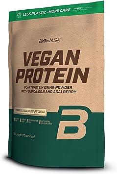 BioTechUSA Vegan Protein En polvo con sabor bebida a base de proteína vegetal, con bayas goji y acai en polvo, harina de quínoa, 500 g, Pastel de ...