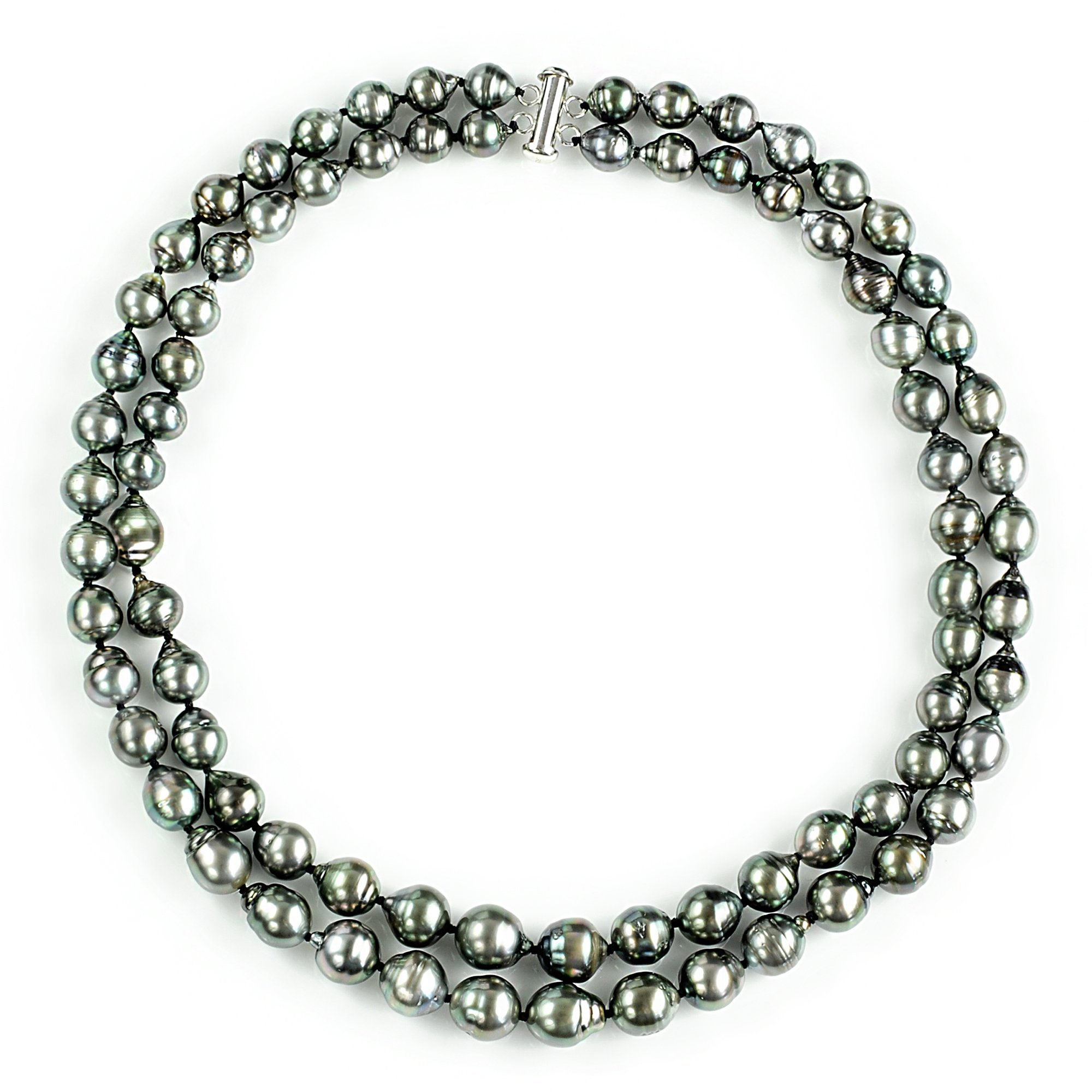 Sterling Silver 2-Rows 8-10mm Hand-picked Black Off-shape Tahitian Cultured Pearl Necklace, 17''
