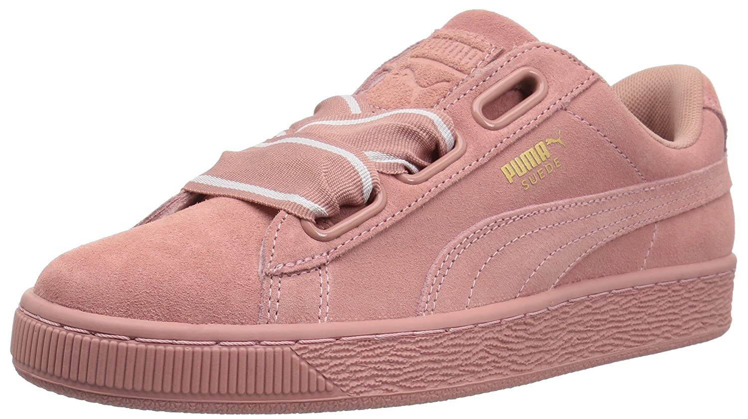 PUMA Women's Suede Heart Satin Wn Sneaker B0733VSMPG 5.5 M US|Cameo Brown-cameo Brown