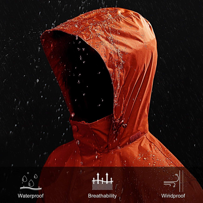 33,000ft Packable Rain Jacket Mens Lightweight Waterproof Raincoat with Stowaway Hood Active Outdoor Windbreaker