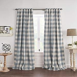"Elrene Home Fashions Grainger Buffalo Check Blackout Window Curtain Panel, 52""x95"" (1, Chambray"