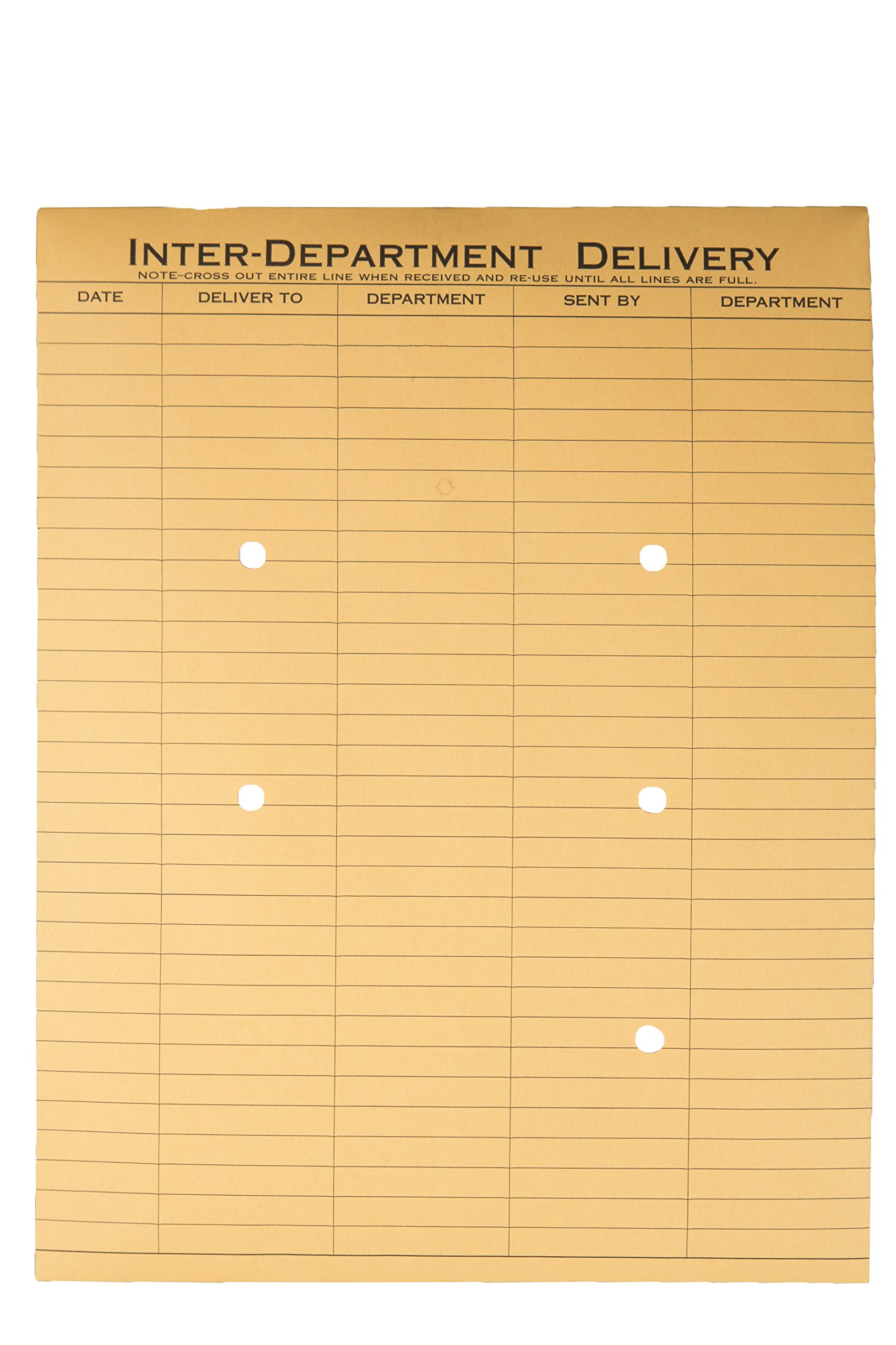 Quality Park 10 x 13 Inter-Departmental Envelopes with String & Button Closure for Interoffice Routing, 28 lb Recycled Brown Kraft, 100 per Carton (QUA63560)