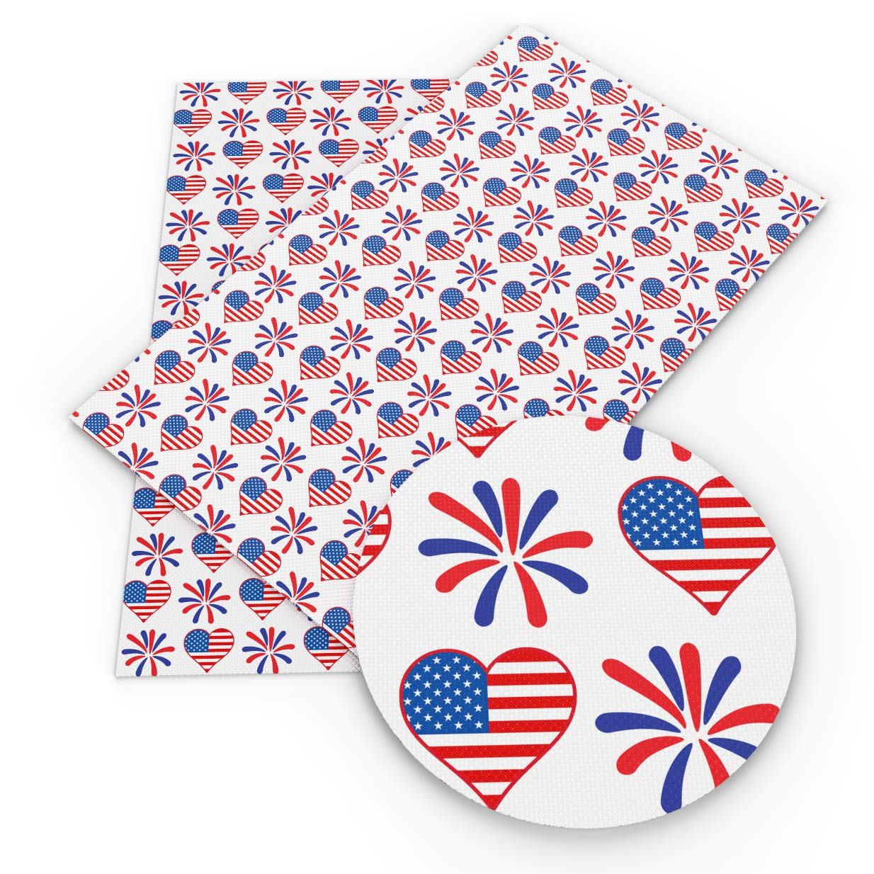 David Angie July 4th The Independence Day Theme Printed Faux Leather Fabric Sheet 9 Pcs 8'' x 13'' (20 cm x 34 cm) DIY Handmade Material for Celebrate (Festival Leather B) by David Angie (Image #7)