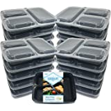 MealStax 20pk 3 Compartment [1000mL/34oz] No Crack No Warp and Leak Resistant Meal Prep Containers BPA Free Dishwasher Safe Bento Boxes (3 Comp, 20) by Goodlife Products LLC