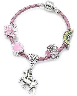 Bracelet à breloques de licorne en cuir rose pour enfant avec boîte cadeau,  bijoux de