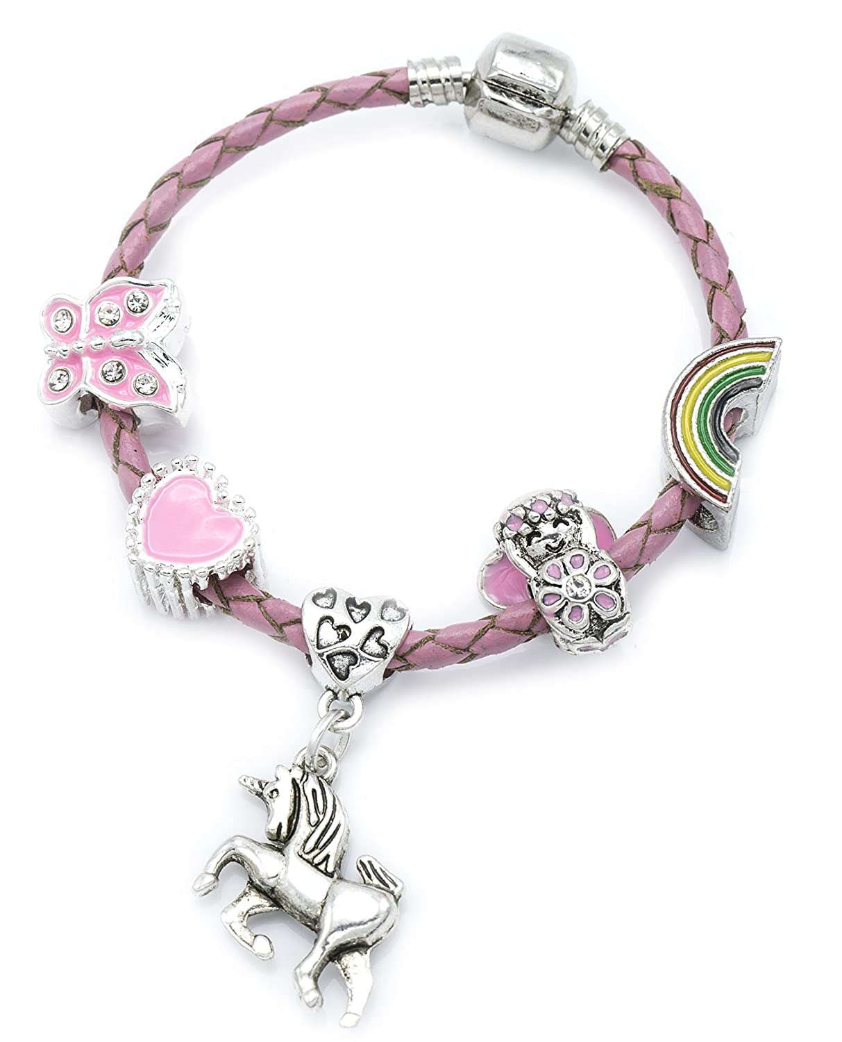 Children's Pink Leather 'Unicorn' Charm Bracelet with Gift Box Girls Jewellery Jewellery Hut BRUNICORNPINK