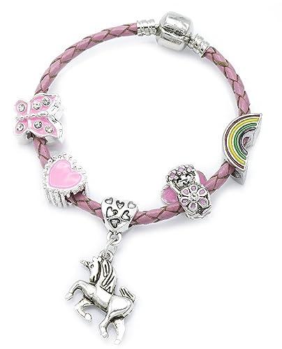 children s pink leather unicorn charm bracelet with gift box girls