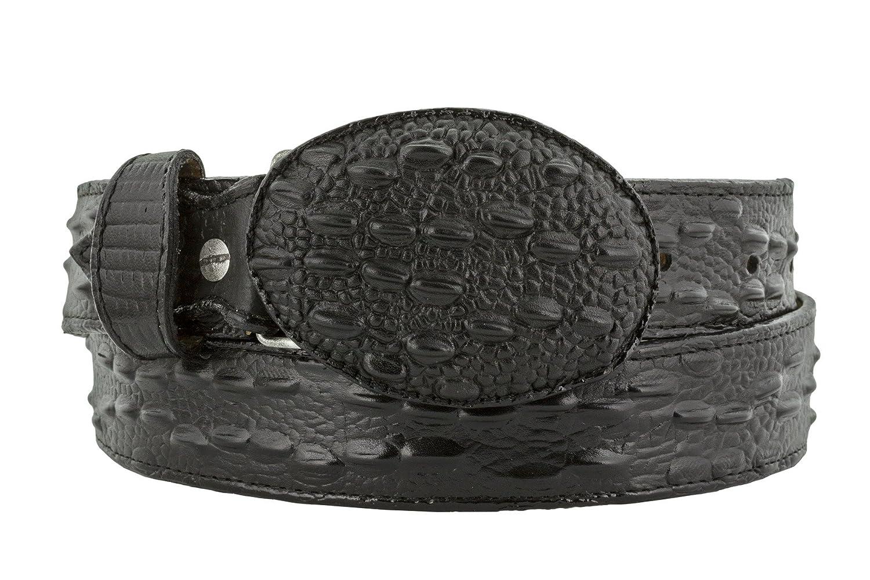 Mens Western Cowboy Belt Crocodile Tail Print Genuine Leather Round Buckle