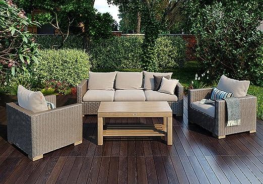 Siena Garden Lounge Juego Veneto - Sofá, dos sillones y mesa ...